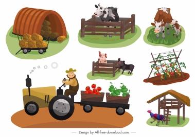 farming icons colored cartoon sketch