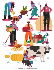 farming icons colorful cartoon sketch