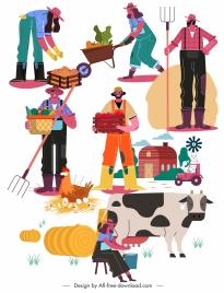 farming icons colorful cartoon sketch