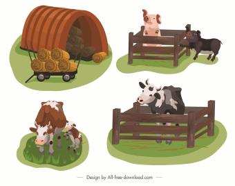 farming icons cow pig straw sketch cartoon design