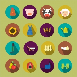 farming icons isolated with colored flat style