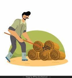 farming painting farmer straw sketch cartoon design
