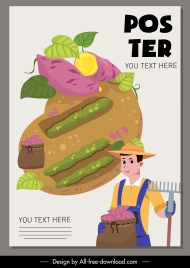 farming poster farmer agricultural products sketch cartoon design