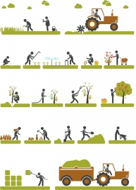 farming production concepts illustration with various activities