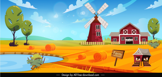 farming scenery painting bright colorful design