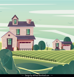 farming scenery painting contemporary houses field sketch