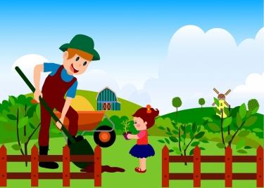 farming work background colorful cartoon decoration human icons