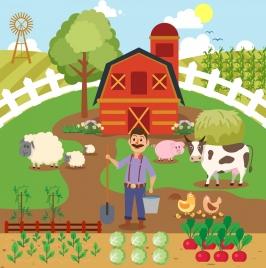 farming work background farmer cattle icons cartoon design