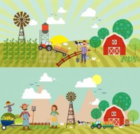 farming work background sets colored cartoon design