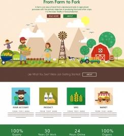 farming work banner cartoon decor webpage style