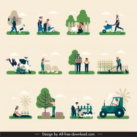 farming work icons colored cartoon design