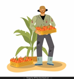 farming work painting farmer pumpkin products cartoon sketch