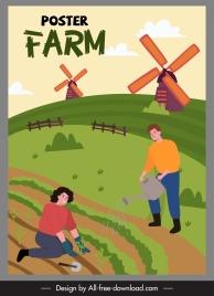 farming work poster agricultural crop sketch cartoon design