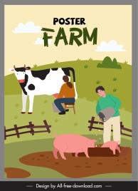 farming work poster cattle farmers sketch cartoon design