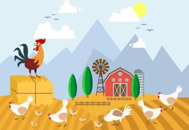 farmland drawing chicken icons colored cartoon design