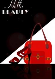 fashion advertisement high heel shoe bag icon