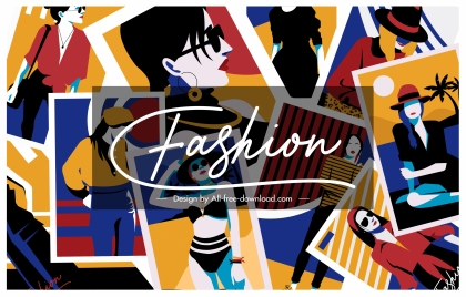 fashion background lady pictures sketch colorful classic