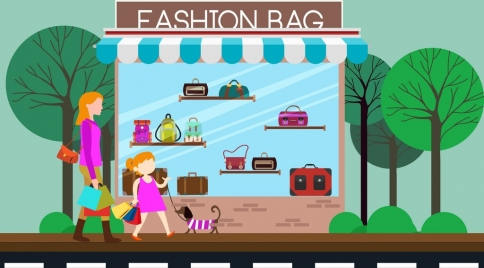 fashion bag store facade design colored cartoon