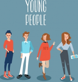 fashion banner young people icons cartoon characters