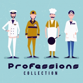 fashion collection banner male profession costume icons