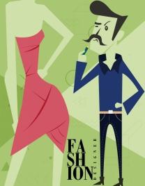 fashion designer advertising male model dress icons