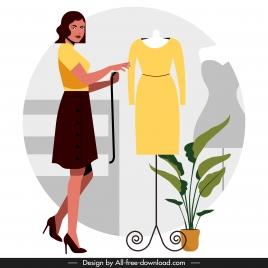 fashion designer job background colored cartoon design