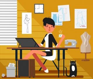 fashion designer work background woman workplace icons