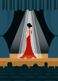 fashion dress template performance stage background