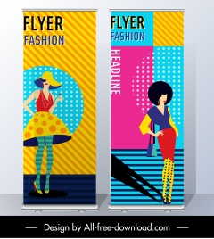 fashion flyer templates colorful vertical design model sketch