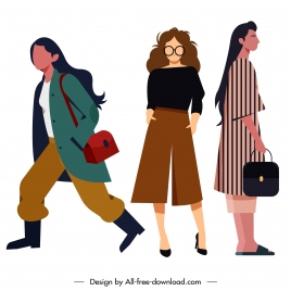 fashion icons female ladies sketch cartoon characters
