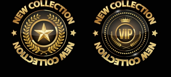fashion logotype templates shiny golden circle decor