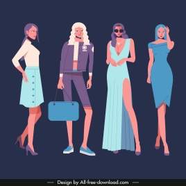 fashion models icons modern costumes colored cartoon characters
