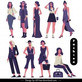 fashion models icons modern elegant design cartoon characters