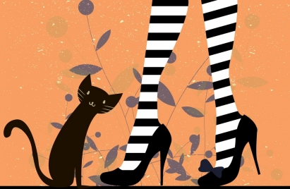 fashion painting high heel shoes cat icons decor