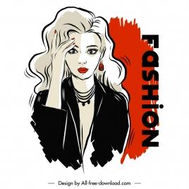 fashion poster template elegant lady sketch handdrawn cartoon