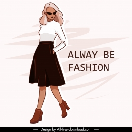 fashion poster template female model sketch cartoon character