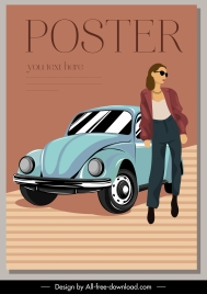 fashion poster young lady classic car sketch