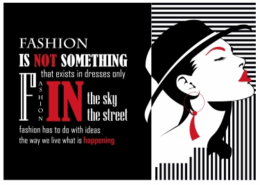 fashion quote design with model on dark background