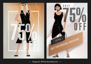 fashion sale banners female model sketch bright modern