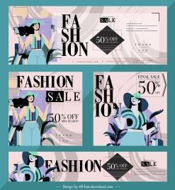 fashion sale banners female shopper sketch colorful classic