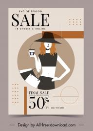 fashion sale poster young girl sketch elegant decor