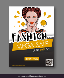 fashion sale poster young lady sketch classic handdrawn