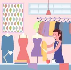fashion work drawing female designer clothes colored cartoon