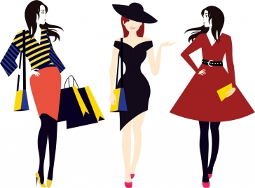 fashionable women icons colored cartoon design