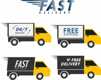 fast delivery advertisement yellow trucks icons ornament