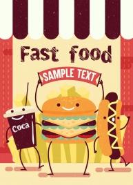 fast food advertisement hamburger hotdog icons stylized design