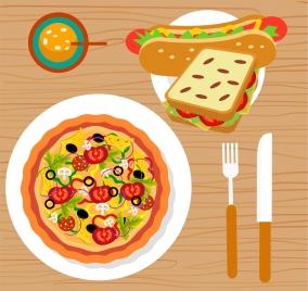 fast food advertisement pizza hotdog sandwich icons decoration