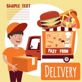 fast food advertising boy truck icons colored cartoon