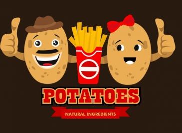 fast food advertising cute stylized potato icons