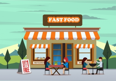 fast food advertising drawing store outdoor diners icons
